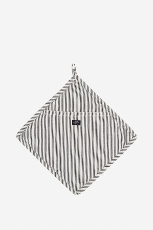 Lexington Gryteklut Icons Cotton Herringbone Striped Potholder- sort/hvit